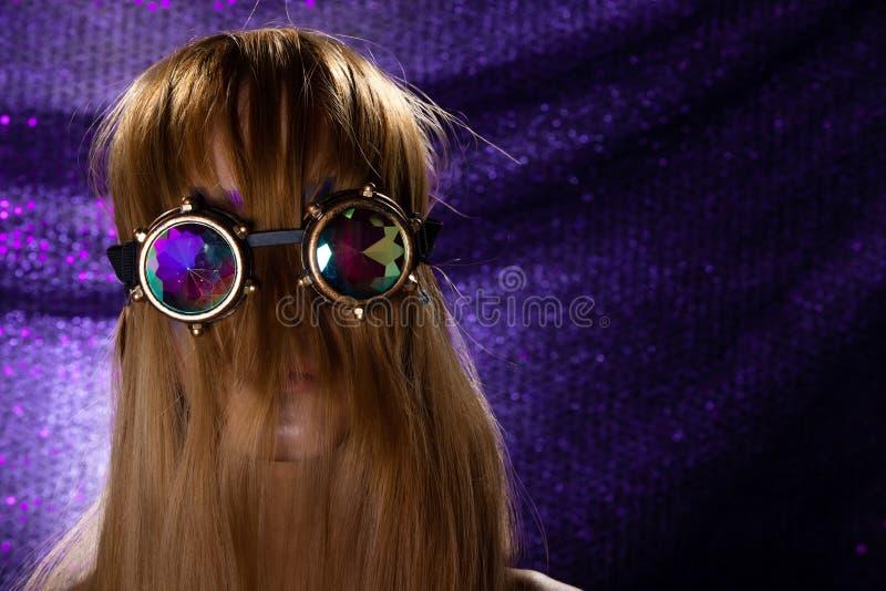 Fashion Model Woman wear Kaleidoscope Glasses royalty free stock photo