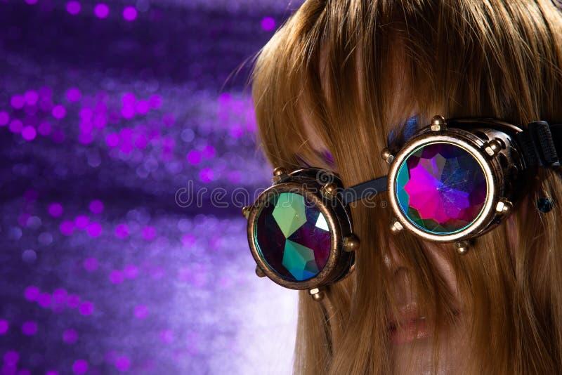 Fashion Model Woman wear Kaleidoscope Glasses stock photo