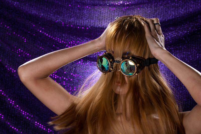 Fashion Model Woman wear Kaleidoscope Glasses stock photos