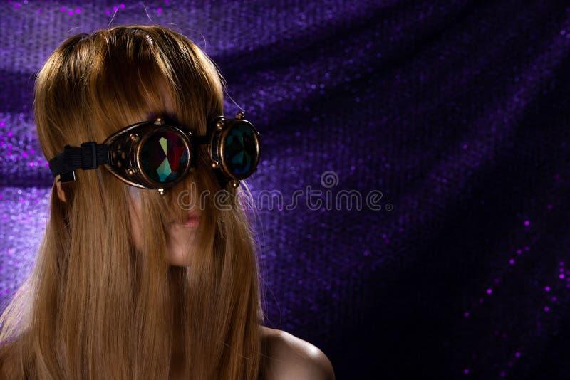 Fashion Model Woman wear Kaleidoscope Glasses stock images