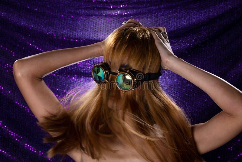 Fashion Model Woman wear Kaleidoscope Glasses royalty free stock image