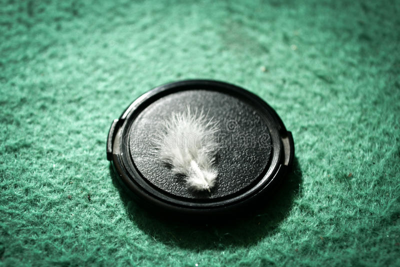 Fur On Lens cap. Macro Of soften Fur on Lens Cap stock photos