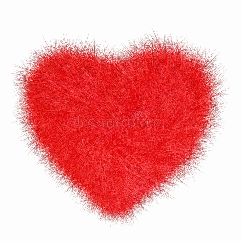 Fur puffy red heart isolated on white royalty free stock images