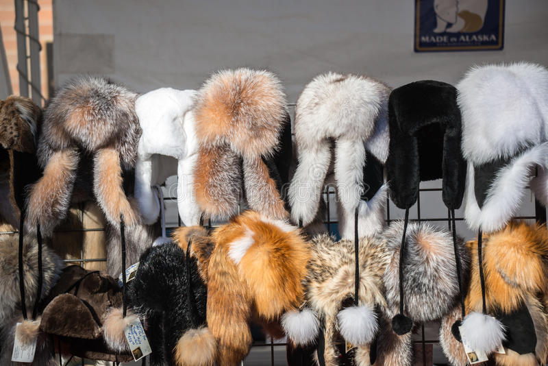 Fur rondy - fur hats for sale in alaska. Fur hates and pelts for sale at the fur rondy in anchorage alaska stock image