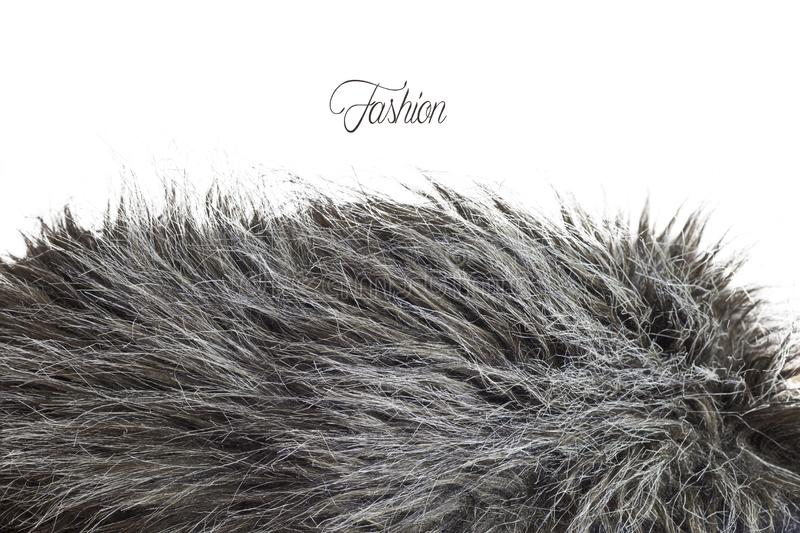 Fur texture in greyscale - Fashion mode. Artificial fur texture in greyscale and white background stock images