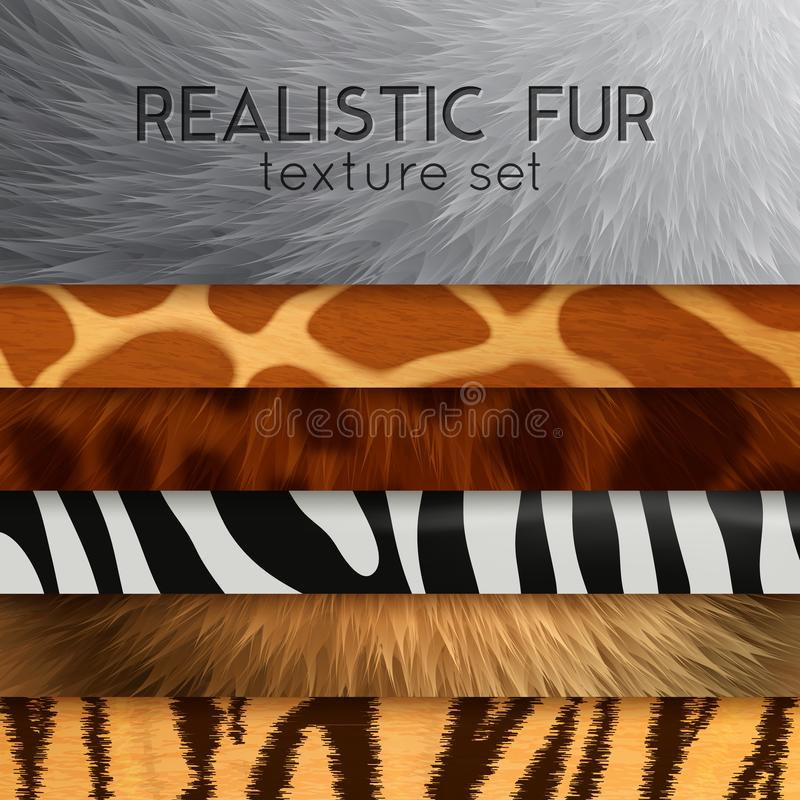 Fur Texture Horizontal Elements stock illustration