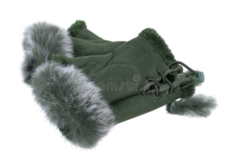 Fur-Trimmed Fingerless Gloves. Fur-trimmed leather fingerless gloves with woven ties - path included stock photo