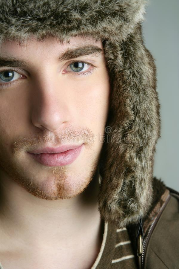 Fur Winter Fashion Hat Young Man Brown Autumn Stock Photos