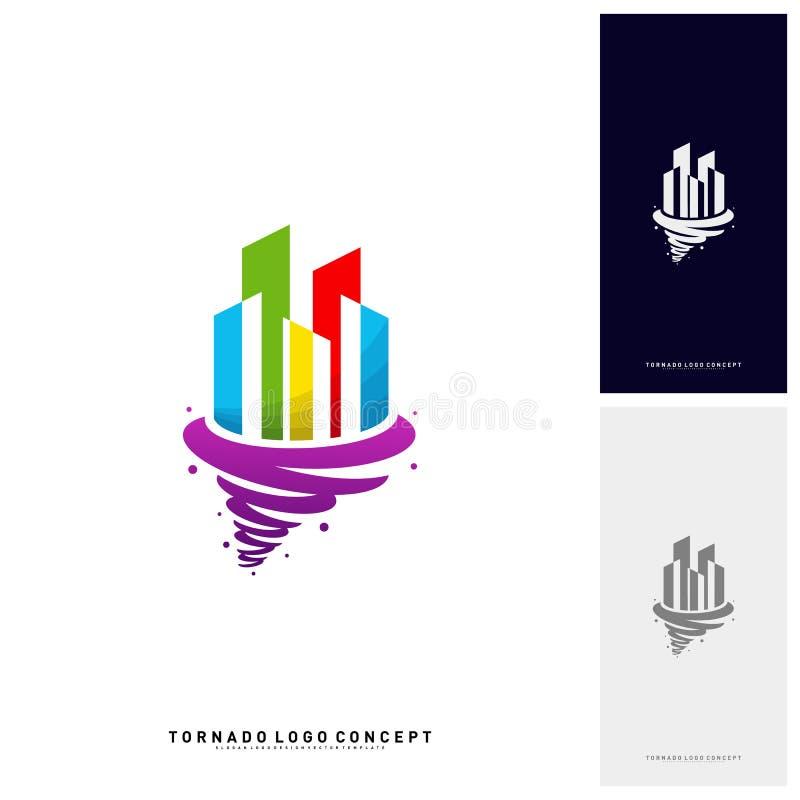 Furacão de construção moderno Logo Concept Company Tempestade com construção de Logo Vetora Template ilustração do vetor