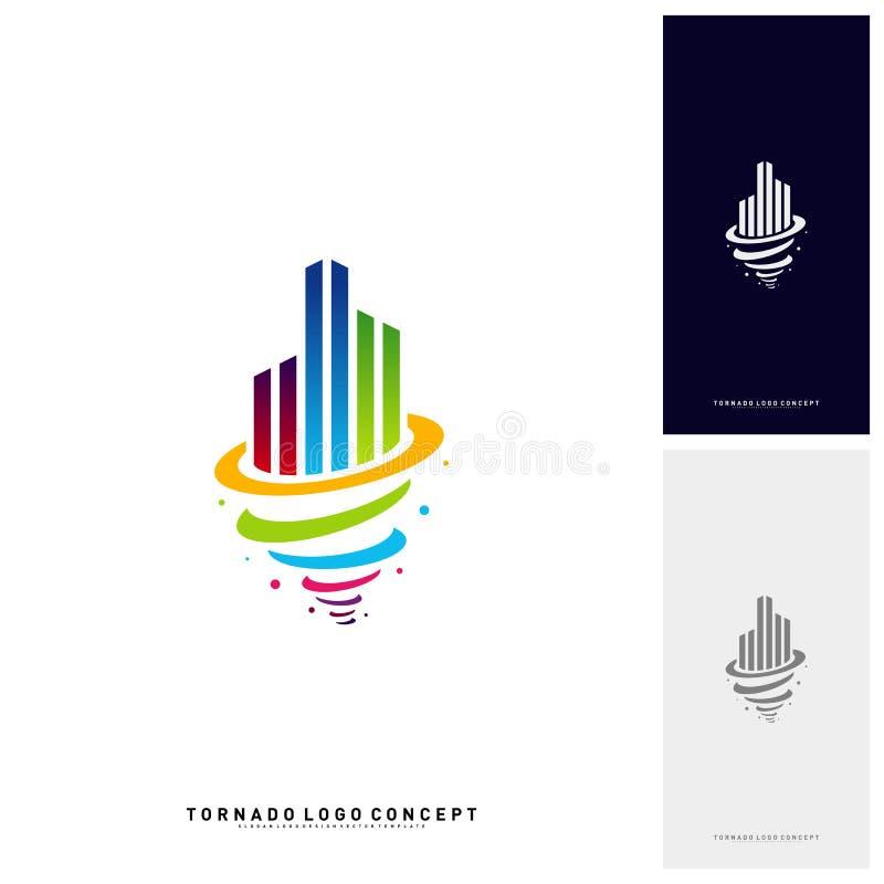 Furacão de construção moderno Logo Concept Company Tempestade com construção de Logo Vetora Template ilustração royalty free