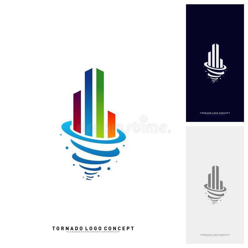 Furacão de construção moderno Logo Concept Company Tempestade com construção de Logo Vetora Template ilustração stock