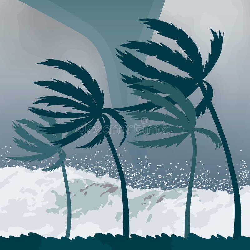 Furacão do furacão, vindo do oceano Ondas enormes em casas no desastre tropical da costa e em um sinal da catástrofe e ilustração do vetor