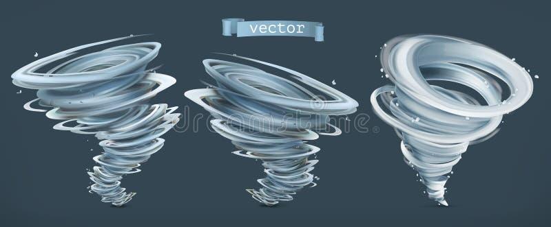 furacão Furacão em um fundo escuro Grupo do ícone do vetor ilustração stock