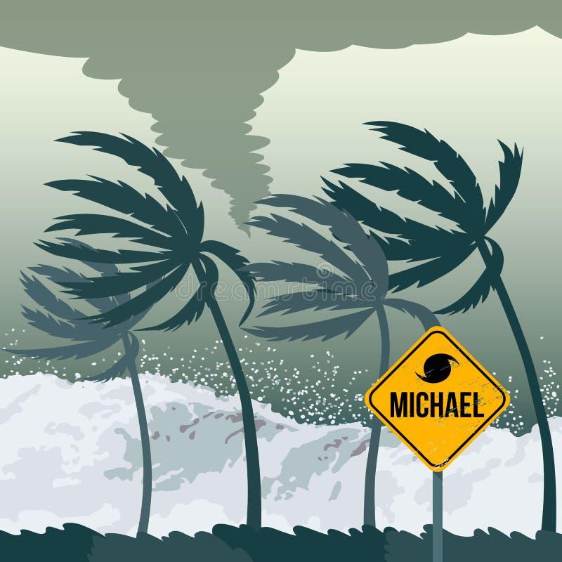 Furacão Michael do furacão, vindo do oceano ilustração royalty free