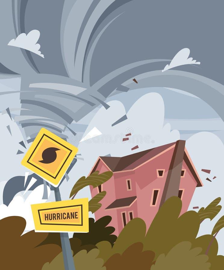Furacão no cartaz colorido do vetor com a construção e as árvores danificadas Furacão do sighpost do alarme ilustração royalty free