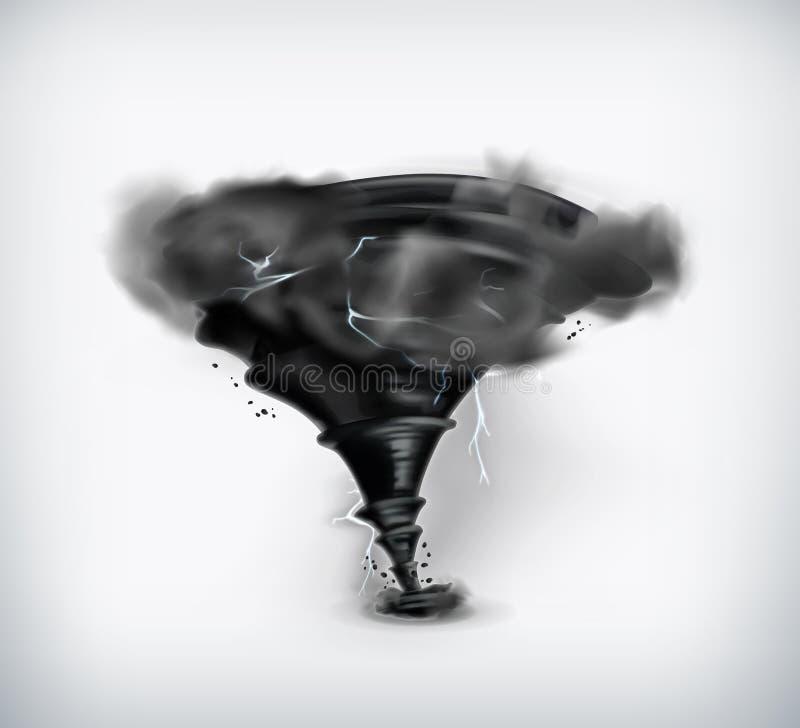 Furacão preto com relâmpago ilustração royalty free