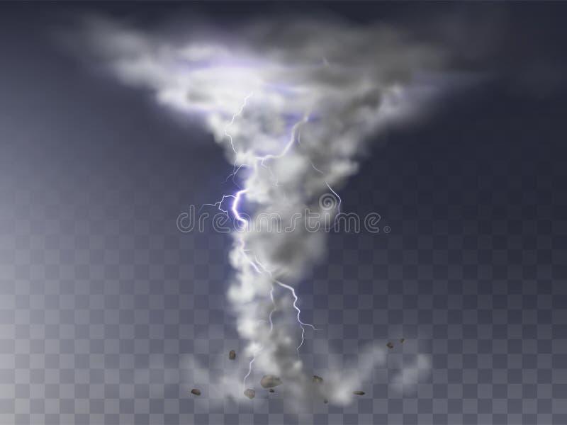 Furacão realístico do vetor, furacão com relâmpago ilustração do vetor