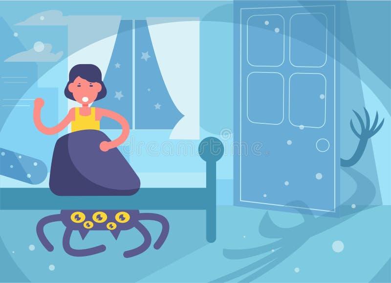 Furcht der Albtraum der Kinder vor Monstern unter dem Bett M?dchen-Vektor karikatur Lokalisierte Kunst stock abbildung