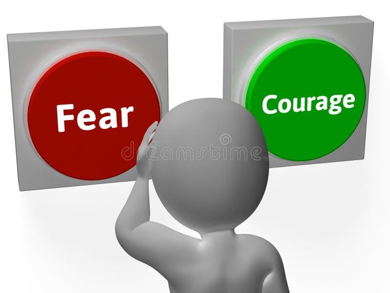 Furcht-Mut-Knöpfe zeigen furchtsames oder furchtloses vektor abbildung