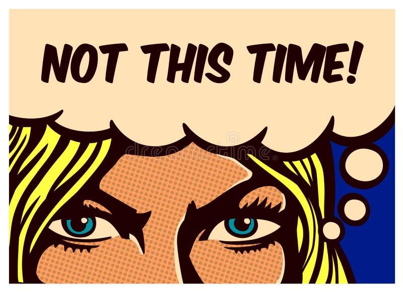 Furchtlose Frau des Pop-Arten-Comic-Buches mit den entschlossenen Augen, die bestimmt werden, um für ihre Rechte zu kämpfen, vect stock abbildung
