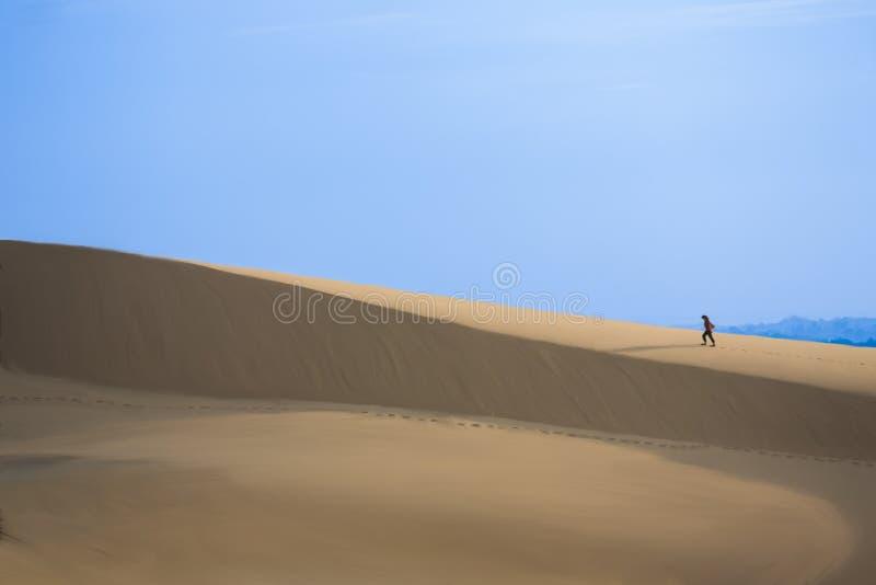Furchtloser Reisender auf weißen Sanddünen stockbild