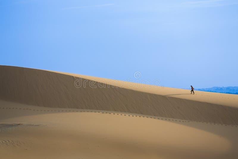 Furchtloser Reisender auf weißen Sanddünen stockfotos