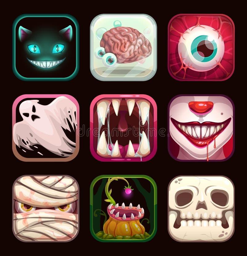 Furchtsame APP-Ikonen auf schwarzem Hintergrund Gruselige bewegliche Spiellogoschablonen stock abbildung