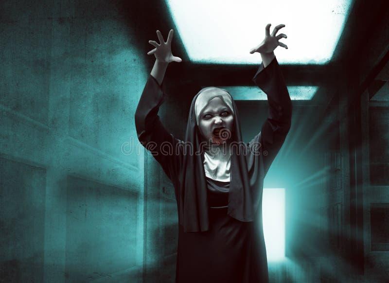 Furchtsame asiatische Nonne mit blutigem Mund heben oben Hand an stockbilder