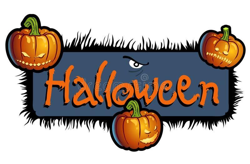 Furchtsame Betitelung Halloween mit drei Kürbisköpfen lizenzfreie abbildung