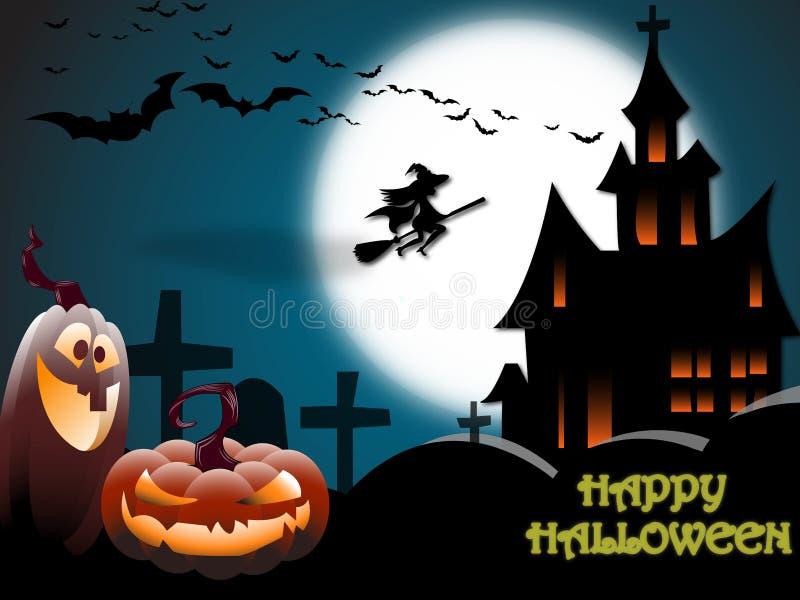 Furchtsame Halloween-Landschaft mit einem Geisterhaus, einem Friedhof, einer Hexe und Fliegen schlägt im Vollmond stock abbildung