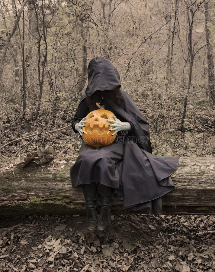 Furchtsame Hexe auf dem Klotz mit Kürbis lizenzfreie stockfotos