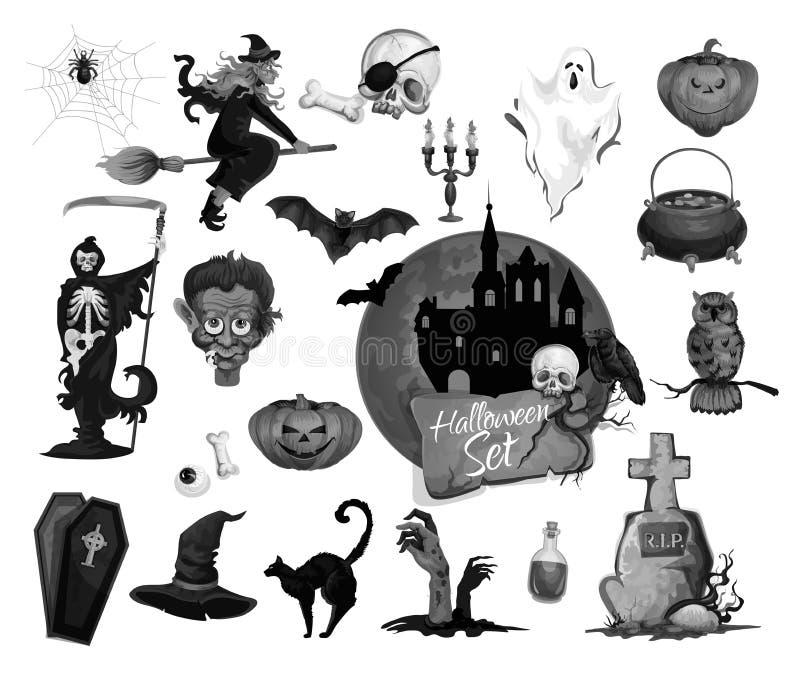 Furchtsame Ikonen des Vektors für Halloween-Parteifeiertag lizenzfreie abbildung