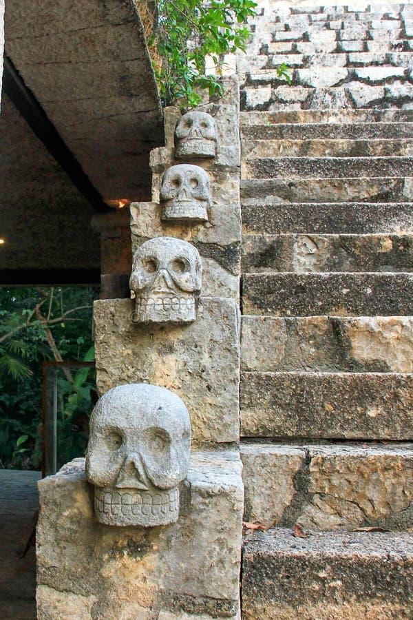 Furchtsame mexikanische Steinschädel schließen oben mit Treppe im Hintergrund stockfoto