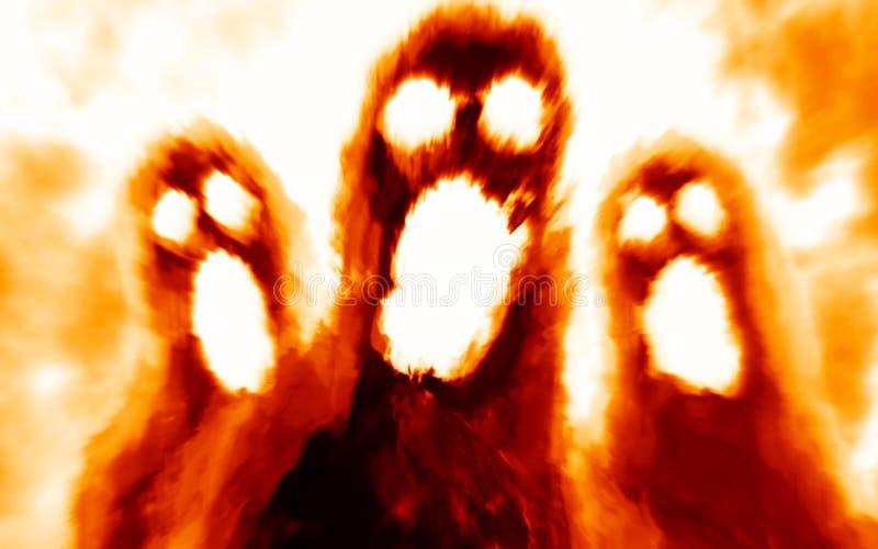 Furchtsame Monsterschatten auf orange Hintergrund lizenzfreie abbildung