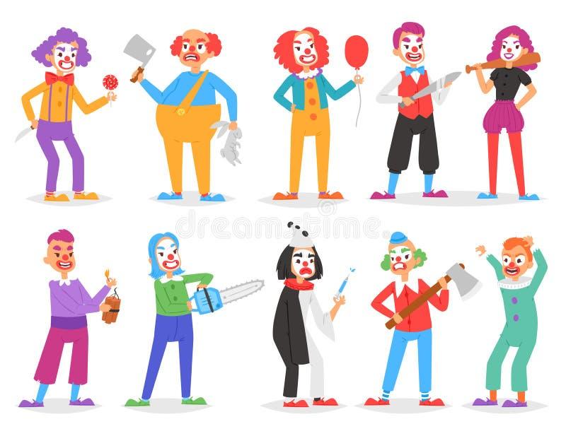 Furchtsamer alberner Charakter des Clownvektors, der auf Leistung im Zirkus mit Axt- oder Klingen- und Karikaturmann der Clowneri lizenzfreie abbildung