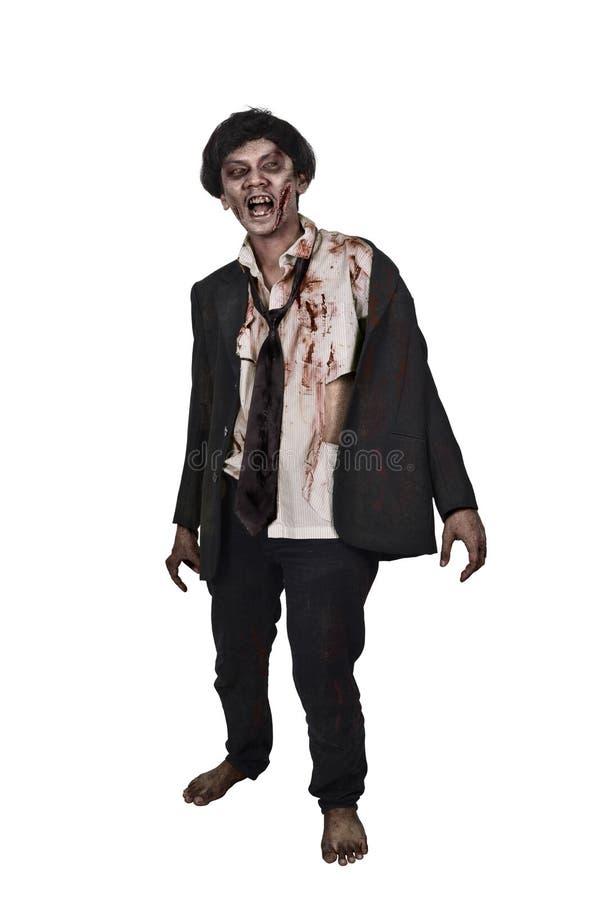 Furchtsamer asiatischer Zombiemann in einer Klage kleidet stockfoto