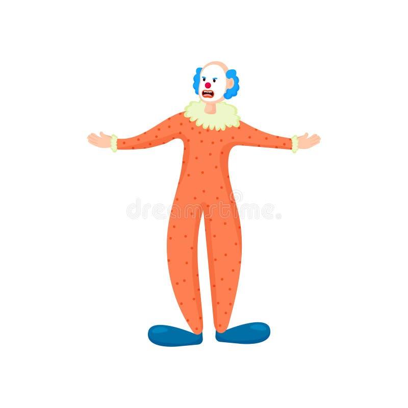Furchtsamer Clown mit dem blauen Haar, den roten Lippen und orange Kleidung lizenzfreie abbildung