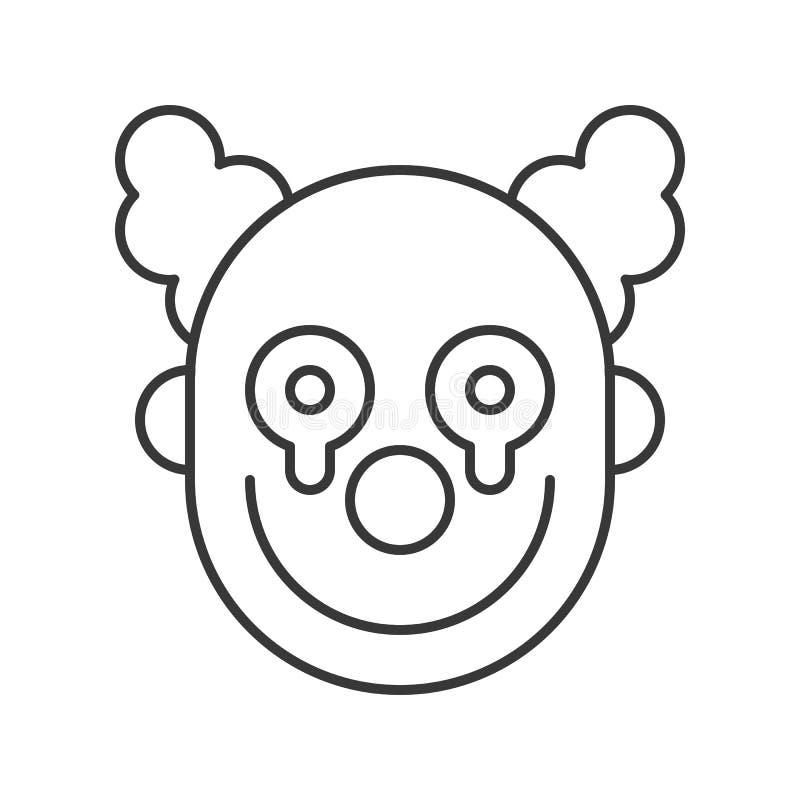 Furchtsamer Clown oder Spassvogel mit blutigem auf Gesicht, Halloween-Ikone editabl stock abbildung