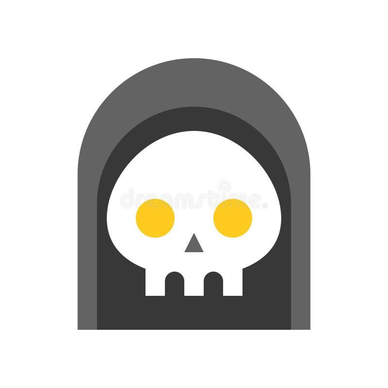 Furchtsamer Geist unter Haube, Halloween-Zeichensatzikone, flacher Entwurf vektor abbildung