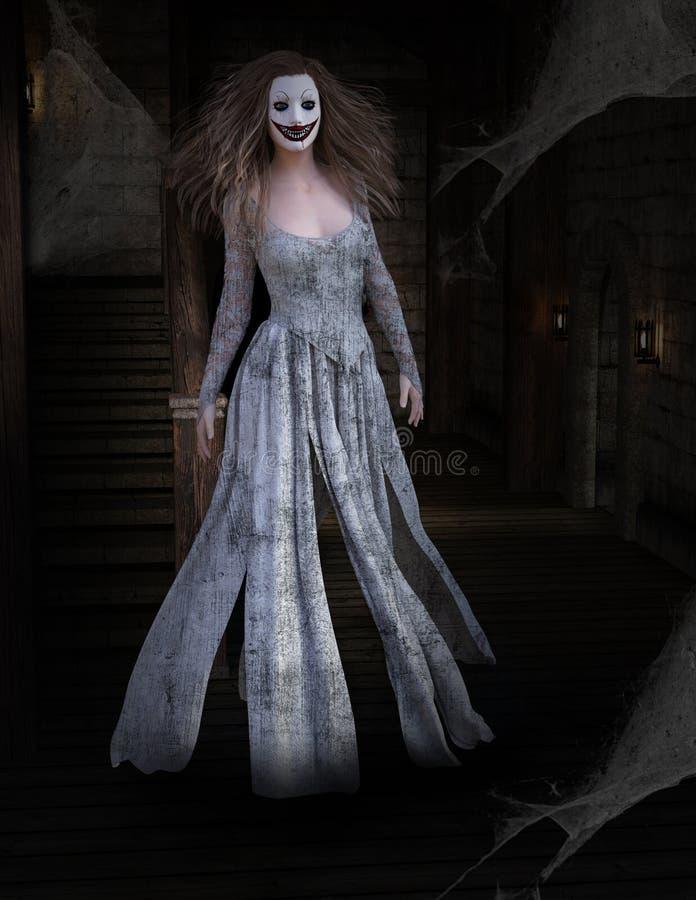 Furchtsamer Halloween-Geist, Geisterhaus vektor abbildung
