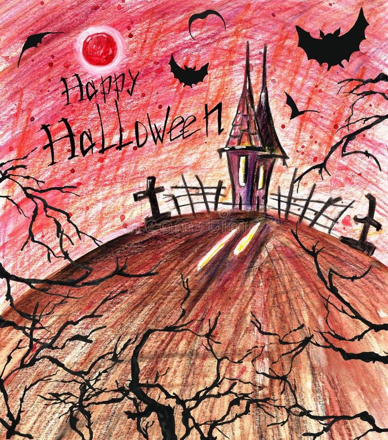 Furchtsamer Halloween-Hintergrund Dunkles gespenstisches Haus mit schwarzen Schlägern und Bäumen vektor abbildung
