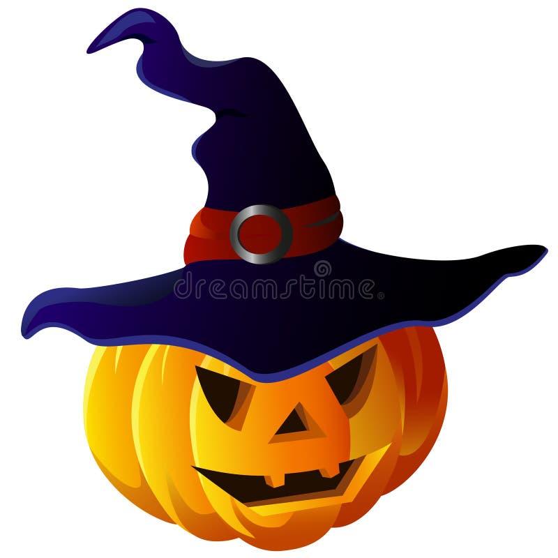 Furchtsamer Halloween-Kürbis im Hexen-Hut vektor abbildung