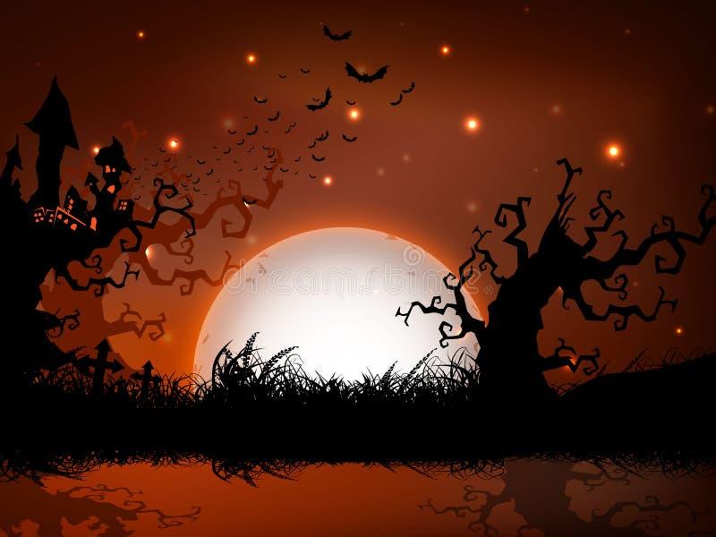 Furchtsamer Halloween-Vollmondnachthintergrund. lizenzfreie abbildung