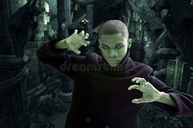 Furchtsamer Mann im Dungeon stockbild