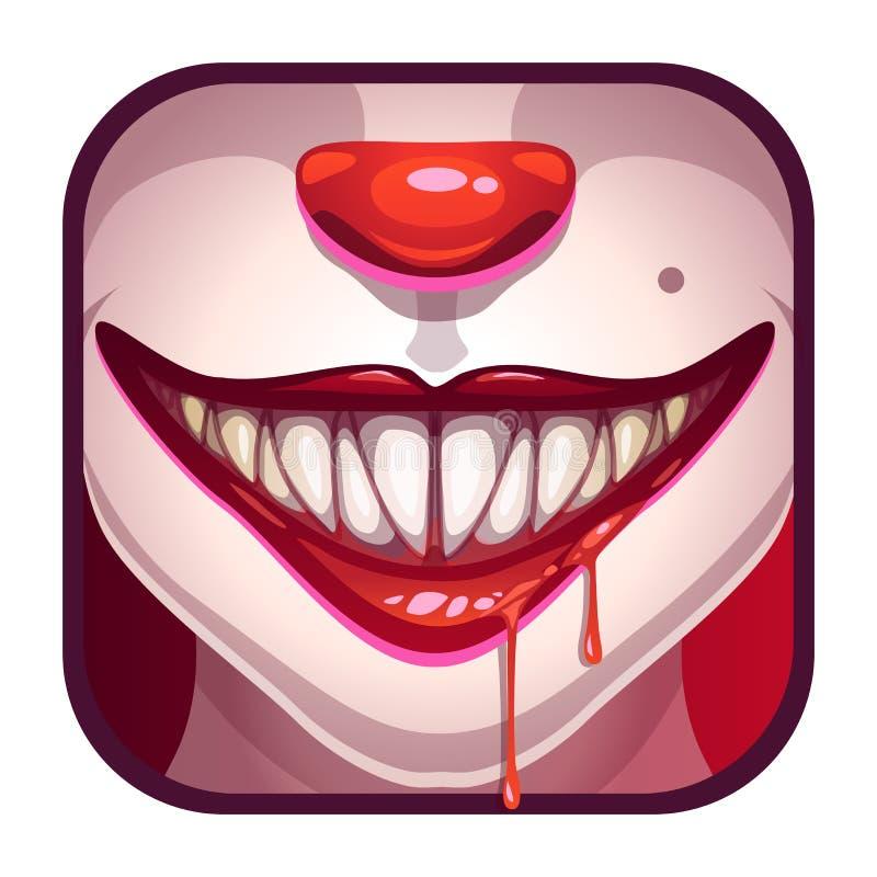 Furchtsamer Vampirsmund mit Blut stock abbildung