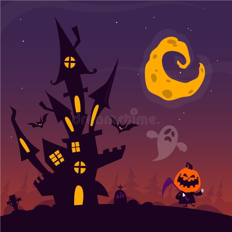 Furchtsames altes Geistgeisterhaus mit Kirchhof- und Fliegengeistern Halloween-Karte oder -plakat Der kleine Junge unzufrieden ge stock abbildung