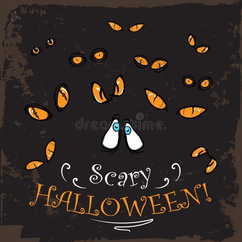 Furchtsames Gelb mustert Halloween-Karte weinlese vektor abbildung