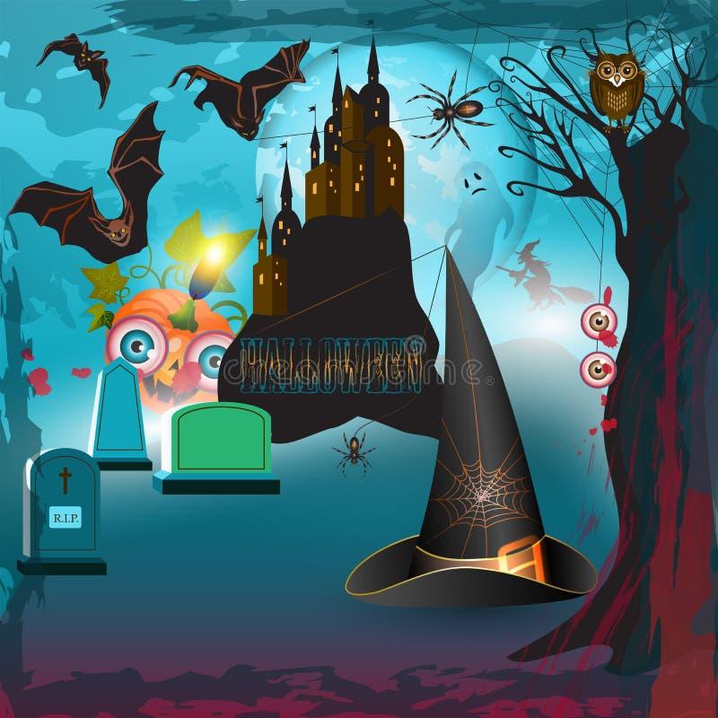 Furchtsames Halloween mit Schloss stock abbildung
