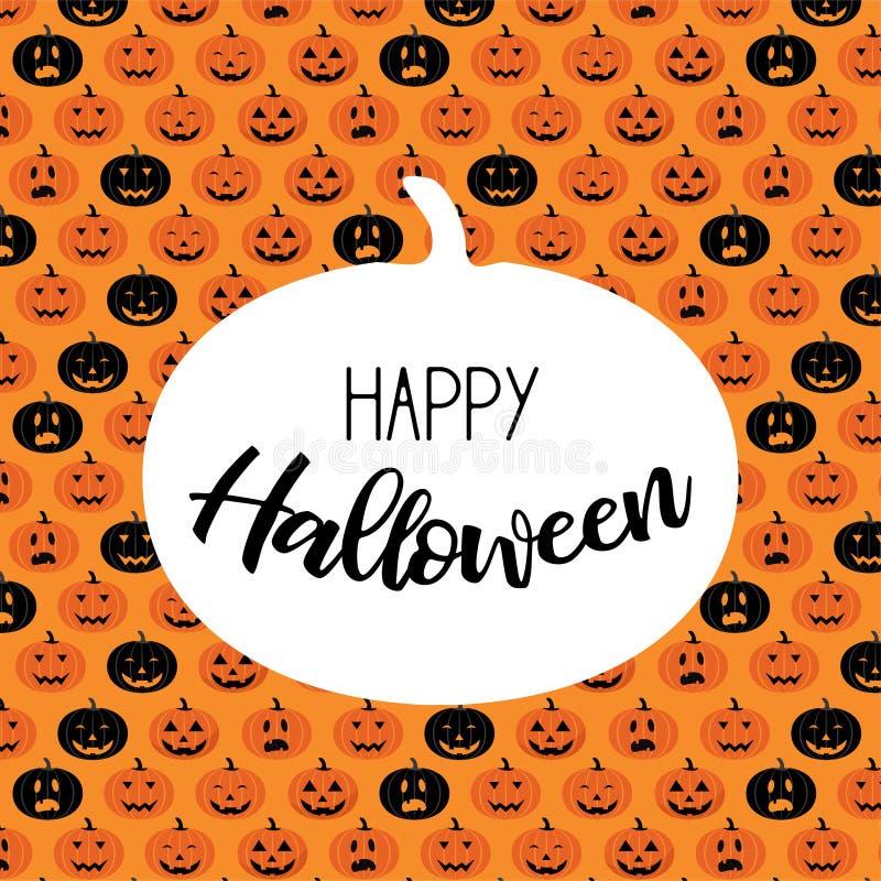 Furchtsames Kürbis-Muster Halloweens Plakat, Karte, Fahne oder Hintergrund für Süßes sonst gibt's Saures Halloween-Partei vektor abbildung