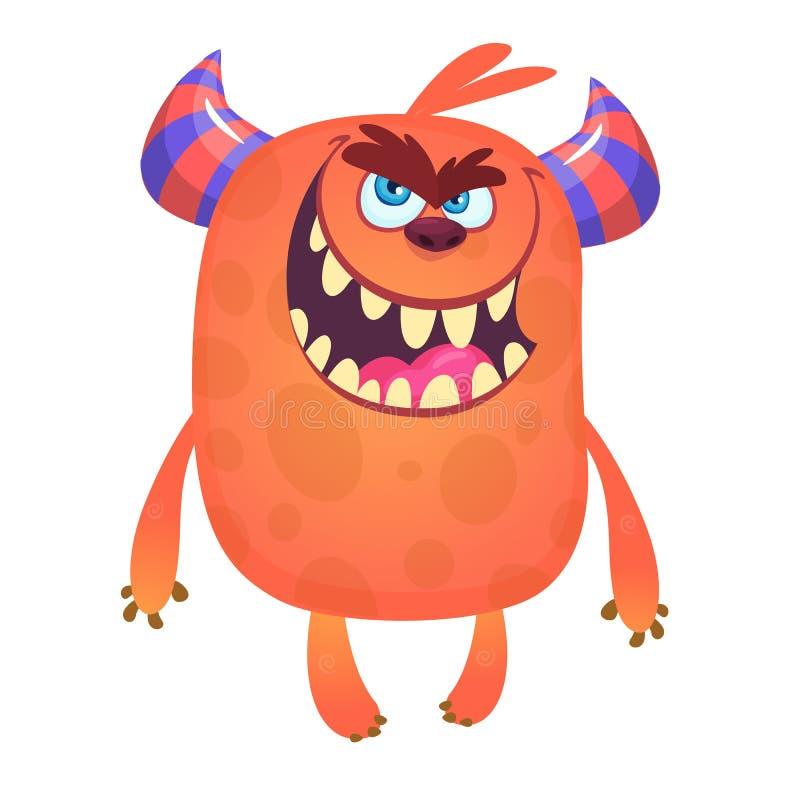 Furchtsames Karikaturmonster mit dem großen Mund voll von den Zähnen Halloween-Vektorillustration des Monstermaskottchens lizenzfreie abbildung